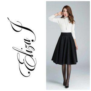 ELIZA J Black A-Line Circle Skirt